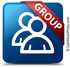 Group blue square button red ribbon in corner