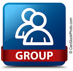 Group blue square button red ribbon in middle