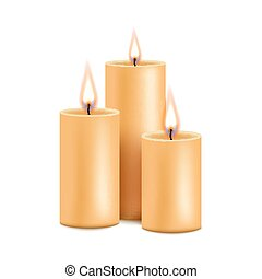 Group burning candles from paraffin wax, realistic vector ...