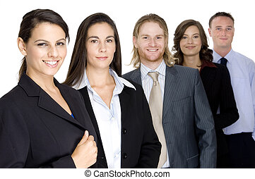 A group of business professionals looking happy and confident (shallow depth of field used)