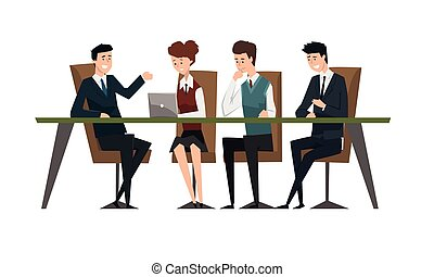 Group Business People Having Meeeting at Conference Table, Male Colleagues Discussing Ideas or Brainstorming Cartoon Style Vector Illustration