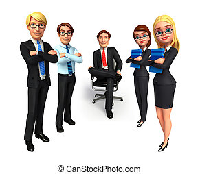 Illustration of group business people in office.