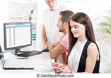 Group business people in office, woman with tablet