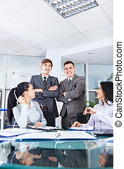 Group business people working meeting office desk