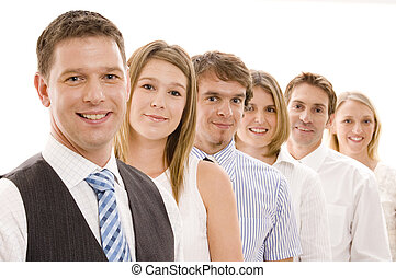 Group Business Team - Six business men and women in a line...