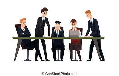 Group Businessmen Having Meeeting at Conference Table, Male Colleagues Discussing Ideas or Brainstorming Cartoon Style Vector Illustration