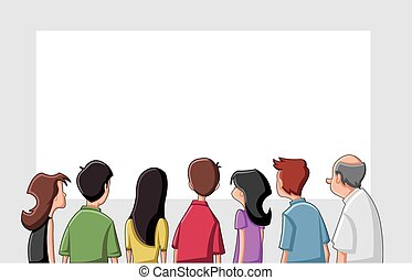 Group cartoon people looking / staring white screen
