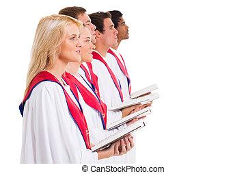 church choir singing from hymnal
