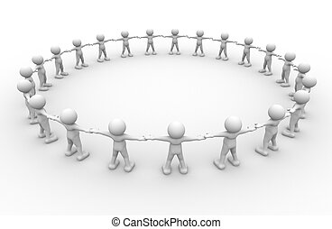 Group - 3d people - human character , person in circle . 3d...