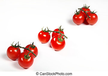 group cluster cherry tomatoes on white