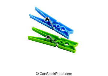 color clothespin isolated on a whit - Group color clothespin...