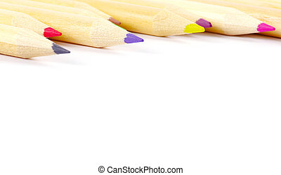Group Color pencils on white background.