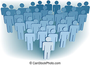 Group company congregation or population of 3D symbol people...