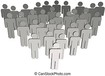 Group company or population of 3D symbol people on white