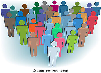 A group company congregation of symbol people in many colors behind a leader.
