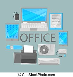 Group computer office equipment vector illustration. Laptop, monitor, tablet pc, smartphone and printer keyboard, photo camera, condition. Office electronics digital equipment.