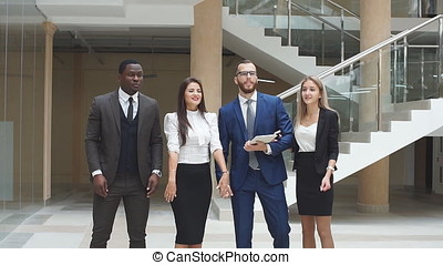 Group confident positive business people celebrate the victory. Slow motion