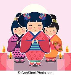 group cute japanese kokeshi doll in kimono vector...