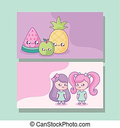 group cute little girls with fruits kawaii style