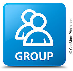 Group cyan blue square button