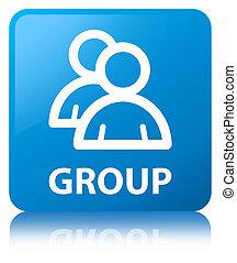 Group cyan blue square button