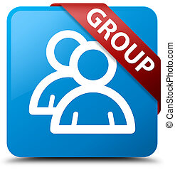 Group cyan blue square button red ribbon in corner