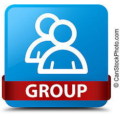 Group cyan blue square button red ribbon in middle