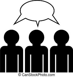 group discussion - group icon of faceless people having a ...