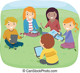 Group Discussion Teens - Illustration of Teens Having a...