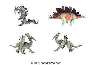 group dragon toy on isolated