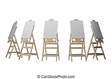 group easels isolated on white 3d rendering