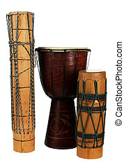 group  exotic african drums isolated over white