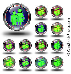 Group glossy icons, crazy colors.