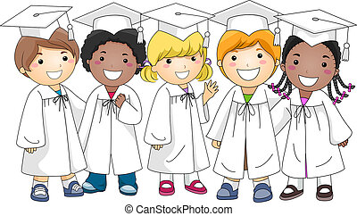 Group Graduate - Illustration of a Group of Kids Wearing...