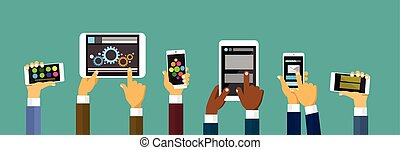 Group Hands Holding Smart Cell Phone Tablet Computer, Technology Concept
