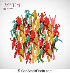 Group happy color dancing people.