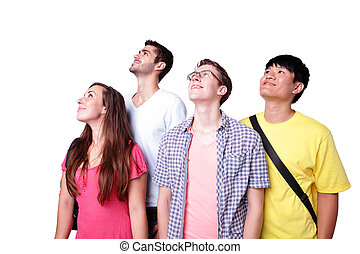 group happy students look up