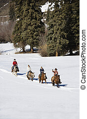 Group horseback riding in snow. - Four people horseback...