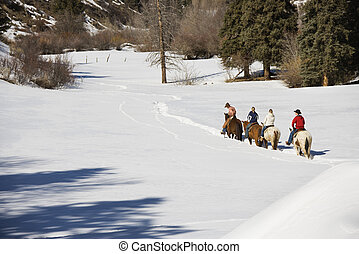 Group horseback riding in winter.