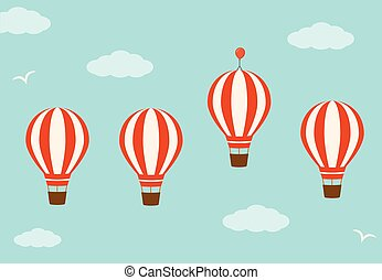 Group hot air balloons in the sky. Business advantage concept .