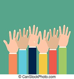 group human hands raised multiracial