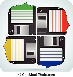 Group Human head as floppy disks