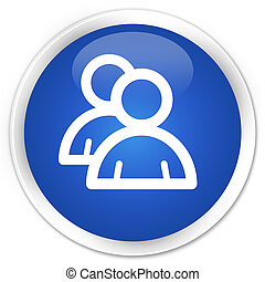 Group icon blue glossy round button
