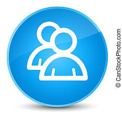 Group icon elegant cyan blue round button