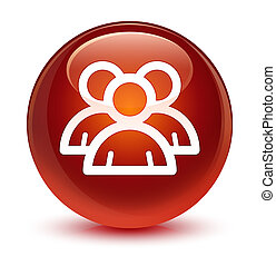 Group icon glassy brown round button