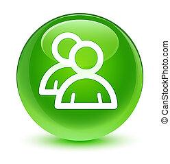 Group icon glassy green round button