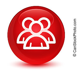 Group icon glassy red round button
