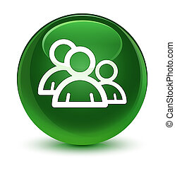 Group icon glassy soft green round button