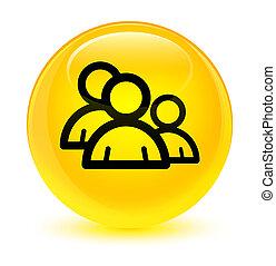 Group icon glassy yellow round button