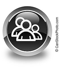 Group icon glossy black round button